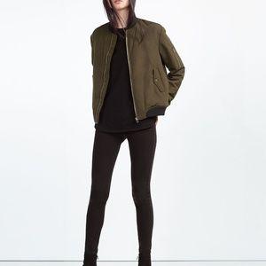 Zara Forest Green Nylon Bomber Jacket